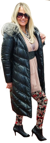 Beveled Maxi Puffer Coat with Faux Fur Hoodie