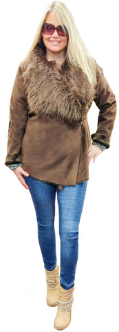 Faux Fur & Suede Side-Tab Jacket