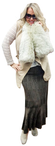 Cashmere Sweater Vest with Faux Fur Collar