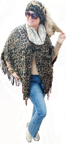Leopard and Fringe Toggle Front Sweater Shawl