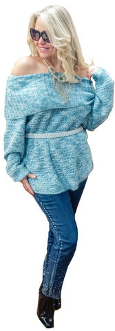 Aqua Off-The-Shoulder Lurex Knit Tunic