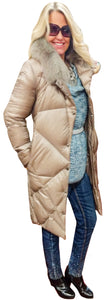 Champagne Goose-Dow Puffer Coat with Detachable Fox Collar
