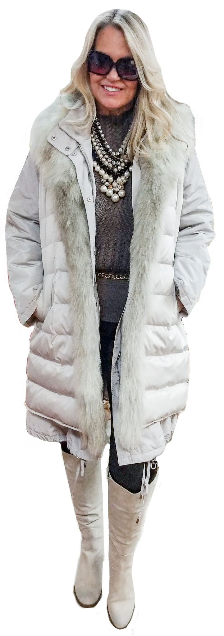 2 in 1 Icy Taupe Goose Down Fox Trim Vest Detaching to Long Sleeve All Weather Parka Coat