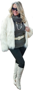 White Faux Fur Bolero Shag Jacket