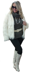 Faux Feathered Fox Fur Washable Jacket