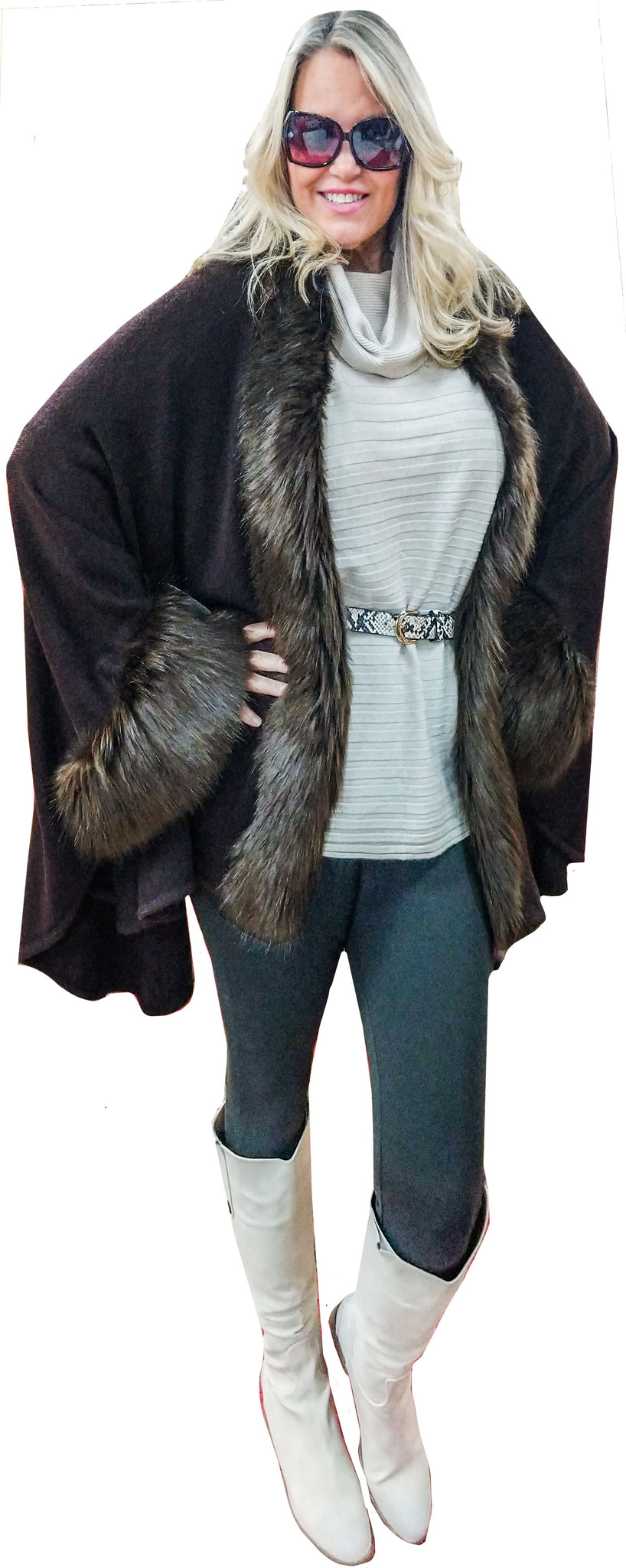Espresso Brown Cashmere Touch Cocoon Cape with Faux Fur Trim