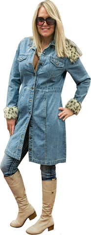 Snap-Front Antique Wash Denim Coat Dress with Faux Leopard Trim