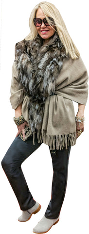 Natural Toned 3/4 Faux Wolf Trimmed Jacket