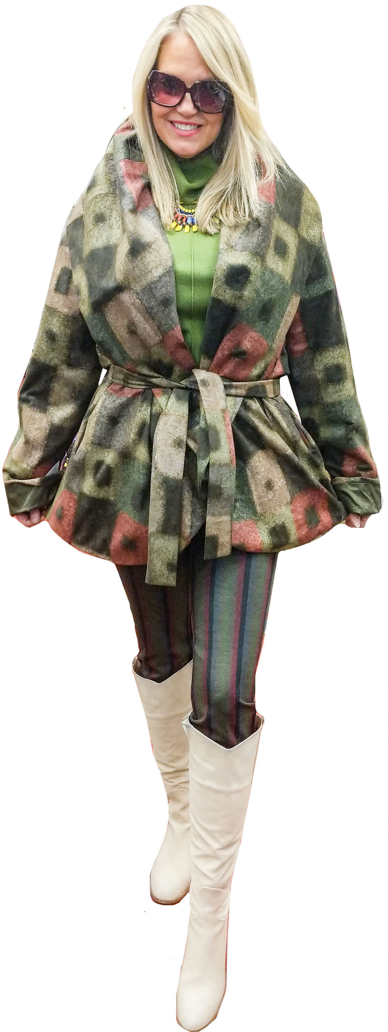 One-Of-A-Kind Suede Earth/Jewel Tone Wrap Jacket with Convertible Cowel-to-Hoodie Collar