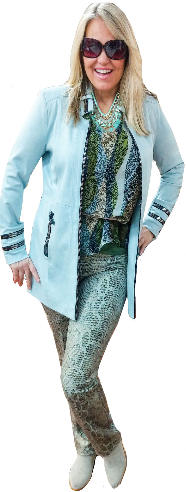 Washable Silk Ocean Tone Graphic Tunic