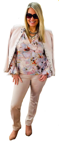 Impressionist Floral Chiffon Tunic Blouse w/ Tiered Sleeves