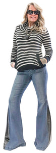 Stripped Stretch Cowl Knit Sweater