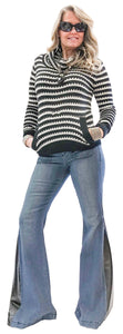 Striped Stretch Cowel Knit Sweater