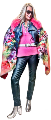 Cashmere Touch Floral Bouquet Cape with Pink Fox Collar