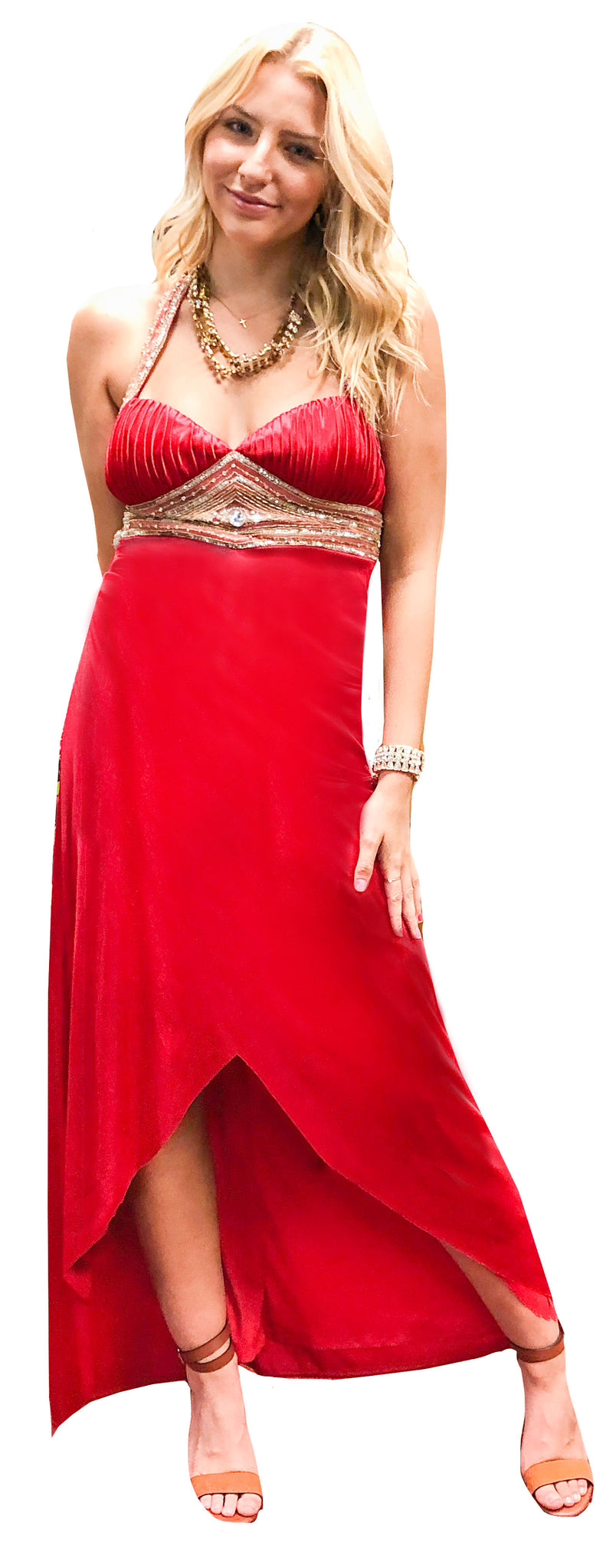 Red Satin Gold Trim Bustier Gown
