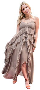 Parisian Silk Chiffon Tiered Taupe Gown