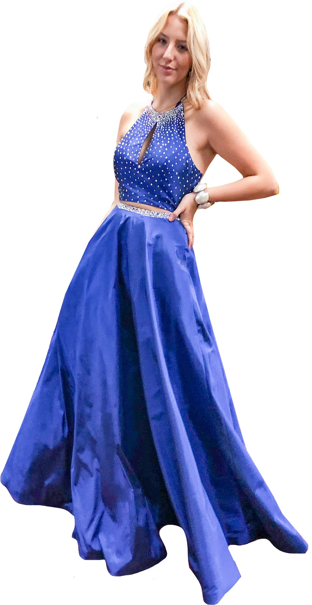 2-Piece Cobalt Satin Organza Ball Skirt & Cropped Halter Top