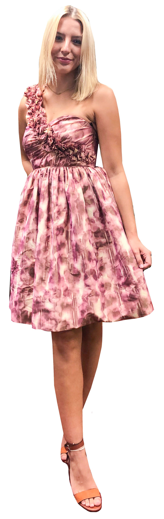 Asymmetric Pink Plum Taffeta Party Dress