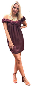 Merlot Crepe Rosette Off-Shoulder Neckline Dress