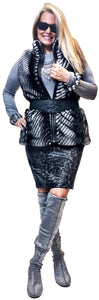 Black and Silver Metallic Miracle Pencil Skirt