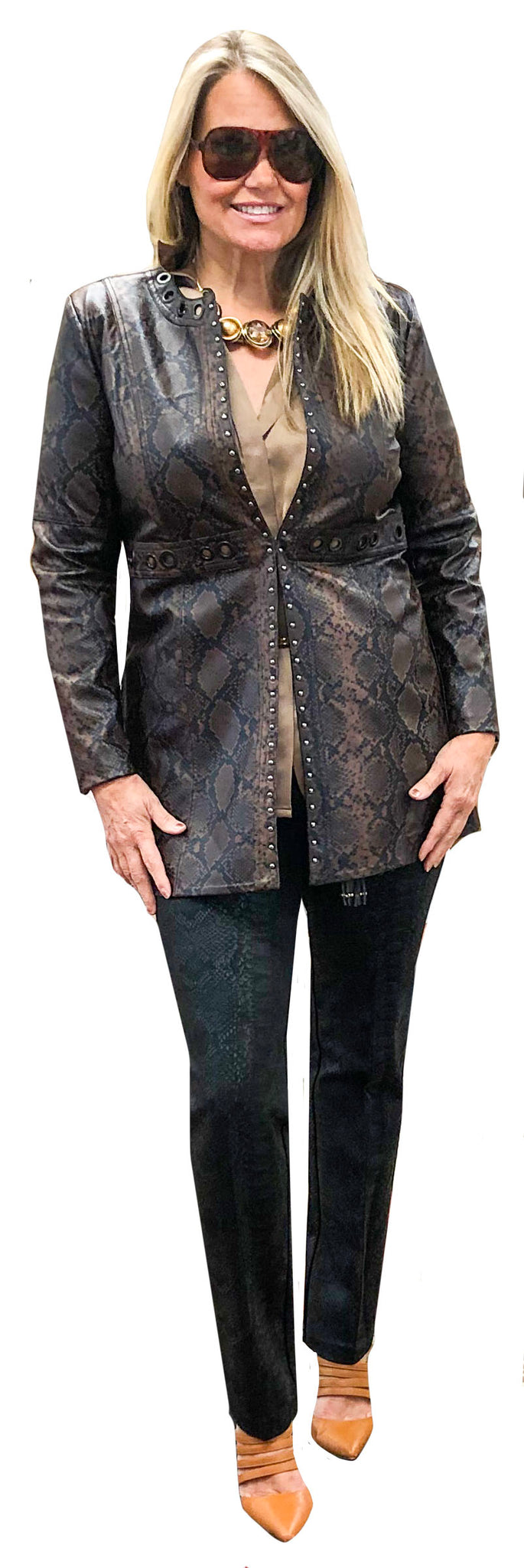 Black Brown Faux Python Pleather Crombie