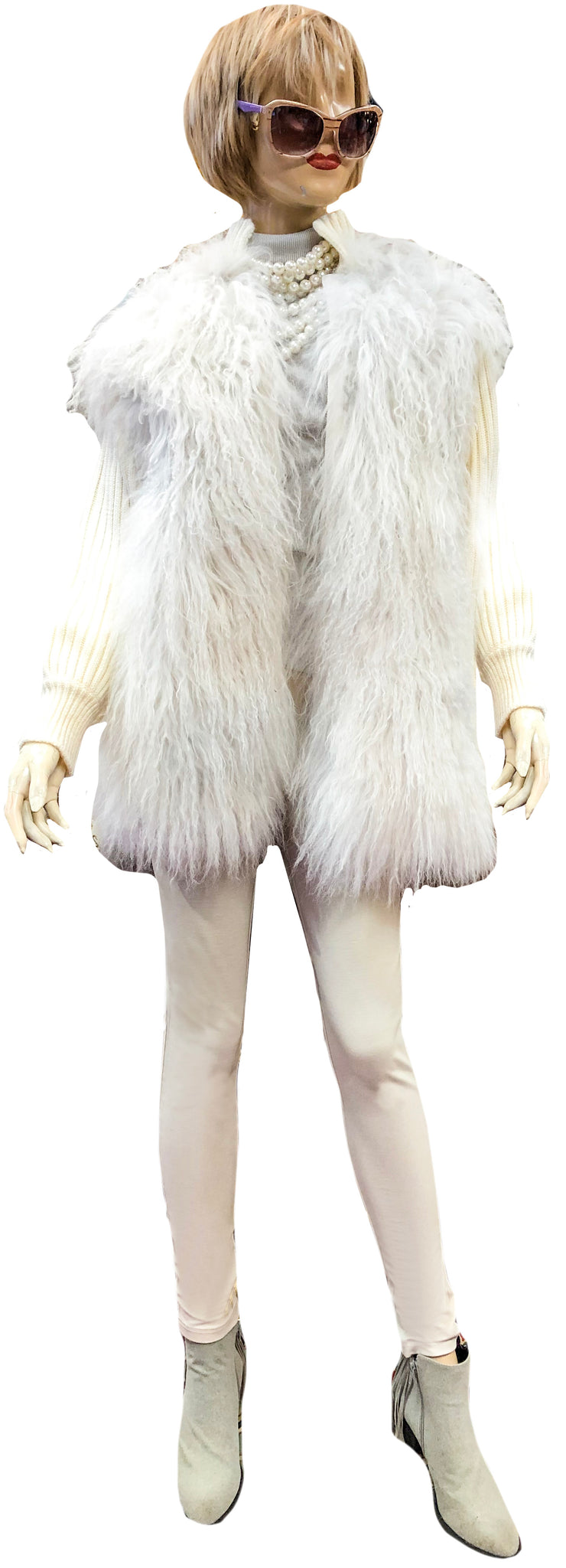 Tibetan Lamb Fur Coat with Knitted Collar & Sleeves