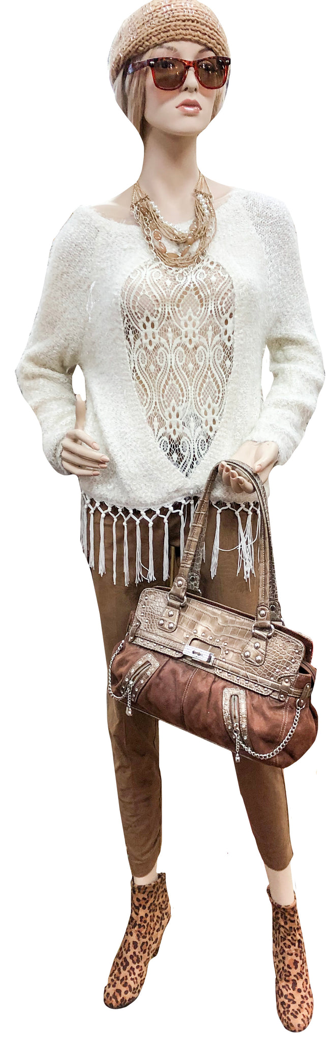 Reversible Lace Front to Solid Knit Fringe Sweater Tunic