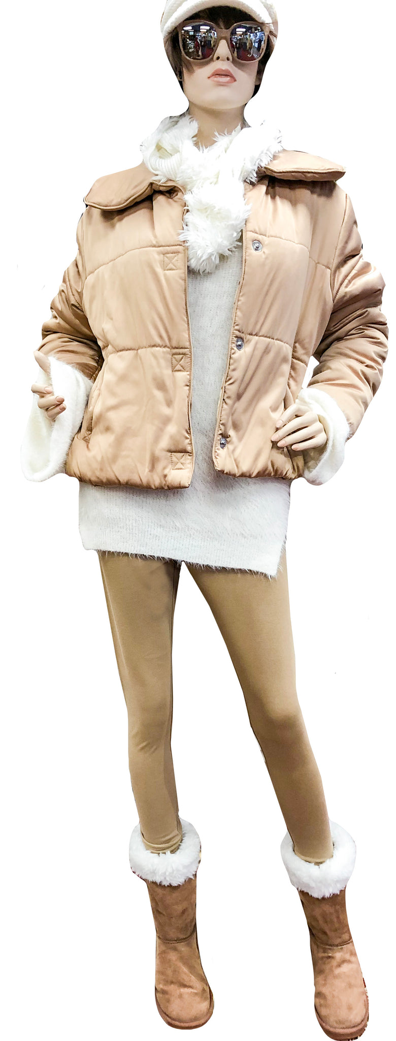 Quilted Satin Cropped Puffer Coat