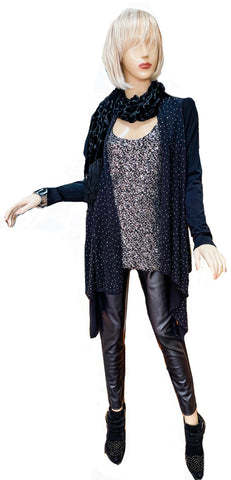 Cashmere Touch Crystal Encrusted Cardigan Tunic