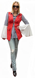 British Banker Striped Cotton Blouse with Pleated Bell Sleeve