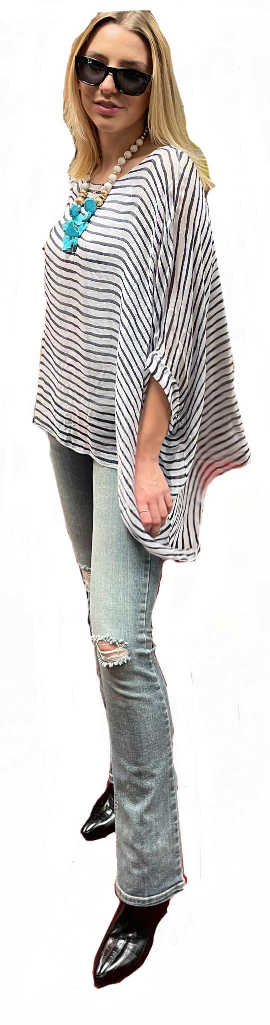 Italian Washable Silk Navy on White Stripe Batwing Tunic