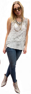 Italian Washable Silk 2-Ply Cami Tunic with Sequin Boarder Cream/Taupe