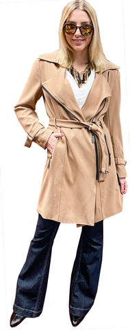 Stretch Gabardine Asymmetric Zip Moto Trench