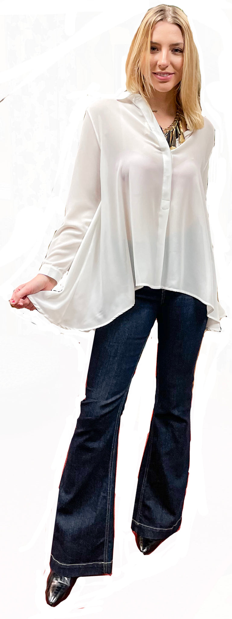 Semi-Sheer Button Front High/Low Tunic Blouse