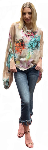 French Hand Painted Washable Silk Tunic Blush
