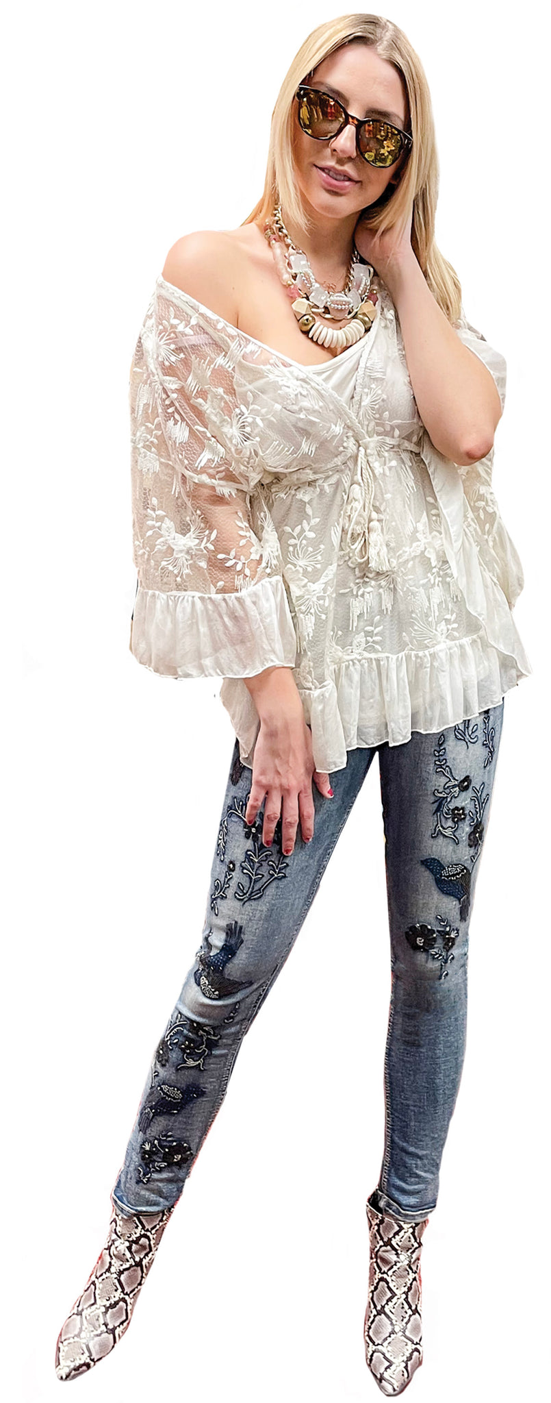 Parisian Embroidered Bat Wing Sheer Lace Tunic with Cami