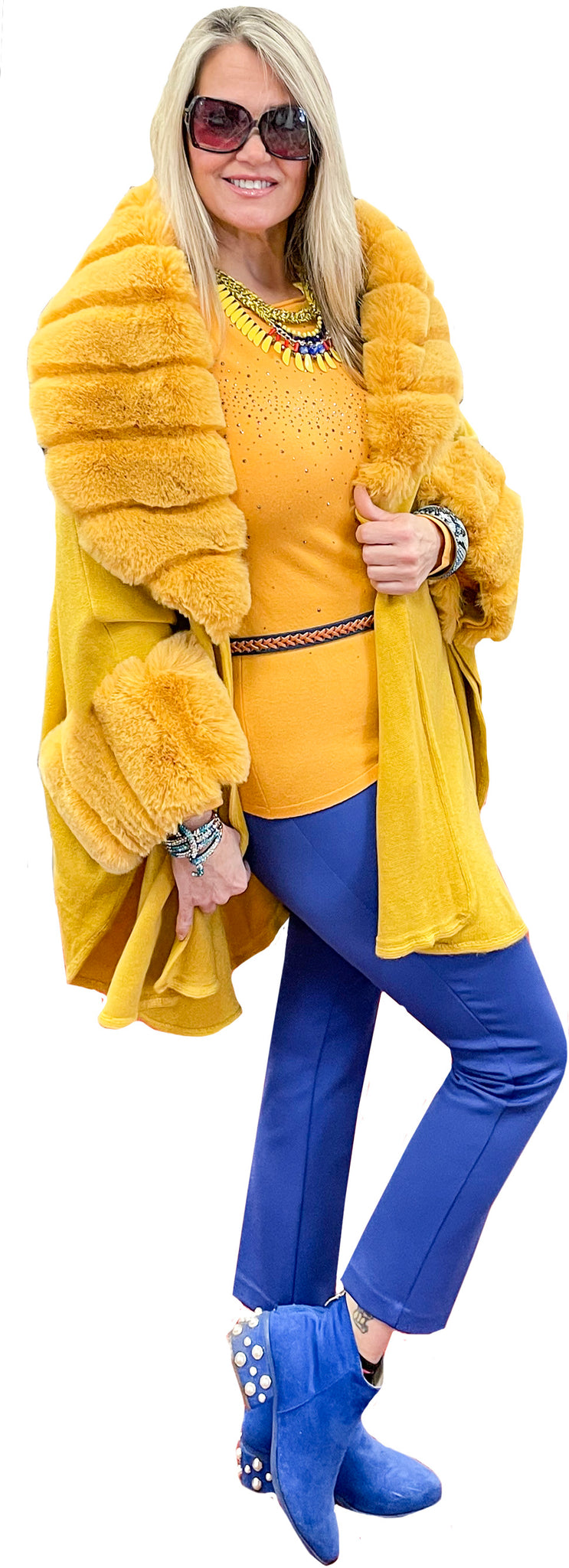 Lemon Meringue Faux Fur Cashmere Touch Knit Cape Coat