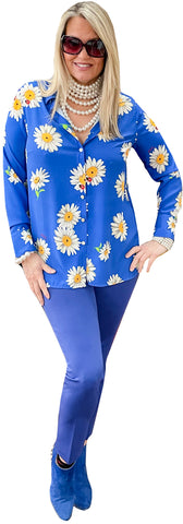 Provence Sunflower Button-Front Blouse