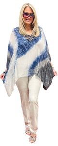 Crochet Sparkle V-Neck Washable Silk Dip-Dye Tunic with Silk Jersey Cami