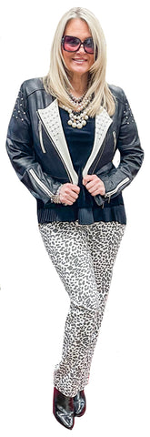 Black/White Stretch Cheetah Miracle Pant