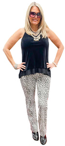 Black & White 5 Pocket Leopard Pant
