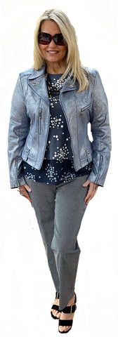 Icy Blue Vegan Metallicized Leather Moto Jacket