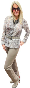 Milano Metallic Silver Taupe Semi-Sheer Blouse with Unique Button Details