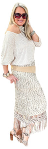 Gold Scroll on Cream Stretch Jersey Tunic