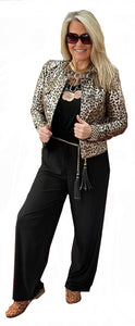 One of a Kind Metallic Panther Print Vegan Leather Jean Cut Jacket