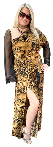 Custom Stretch Leopard Jersey Asymmetric Jumpsuit with Slit Leg and Sheer Sleeve Detail