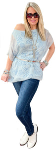 Italian Washable Silk Sponged Graphic Tunic