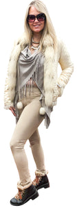 Reversible Silk Puff/ Feather Fox Fur Jacket