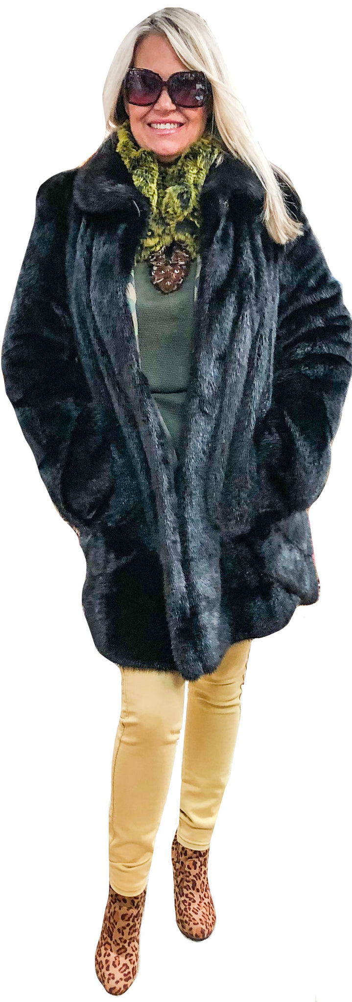 Black Faux Beaver Cuddle Coat