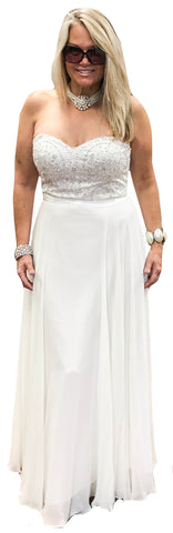 Strapless Flowy Chiffon Gown with Sweetheart Crystal Lace Bodice
